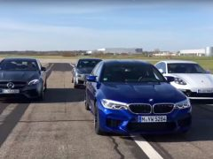 Video BMW M5 AMG E 63 Porsche Panamera Turbo S Cadillac CTS-V