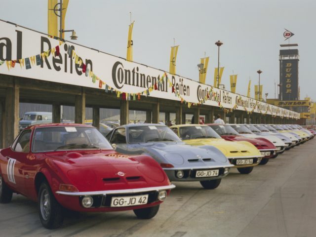 Dream cars: World premiere of the Opel GT for journalists held at the Hockenheimring in 1968.