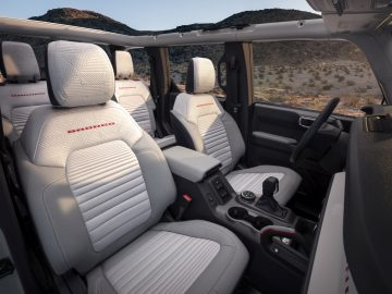 Interior seating details are shown on this prototype version, (not representative of production model) of a 2021 Bronco four-door model. (Static display on private property with aftermarket accessories not available for sale.)
