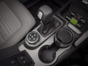 Class-exclusive 10-speed automatic transmission and standard Terrain Management System™ with G.O.A.T. Modes™ in this prototype version of the 2021 Bronco can help off-roaders venture over any type of terrain (not representative of production model). (Static display on private property with aftermarket accessories not available for sale.)